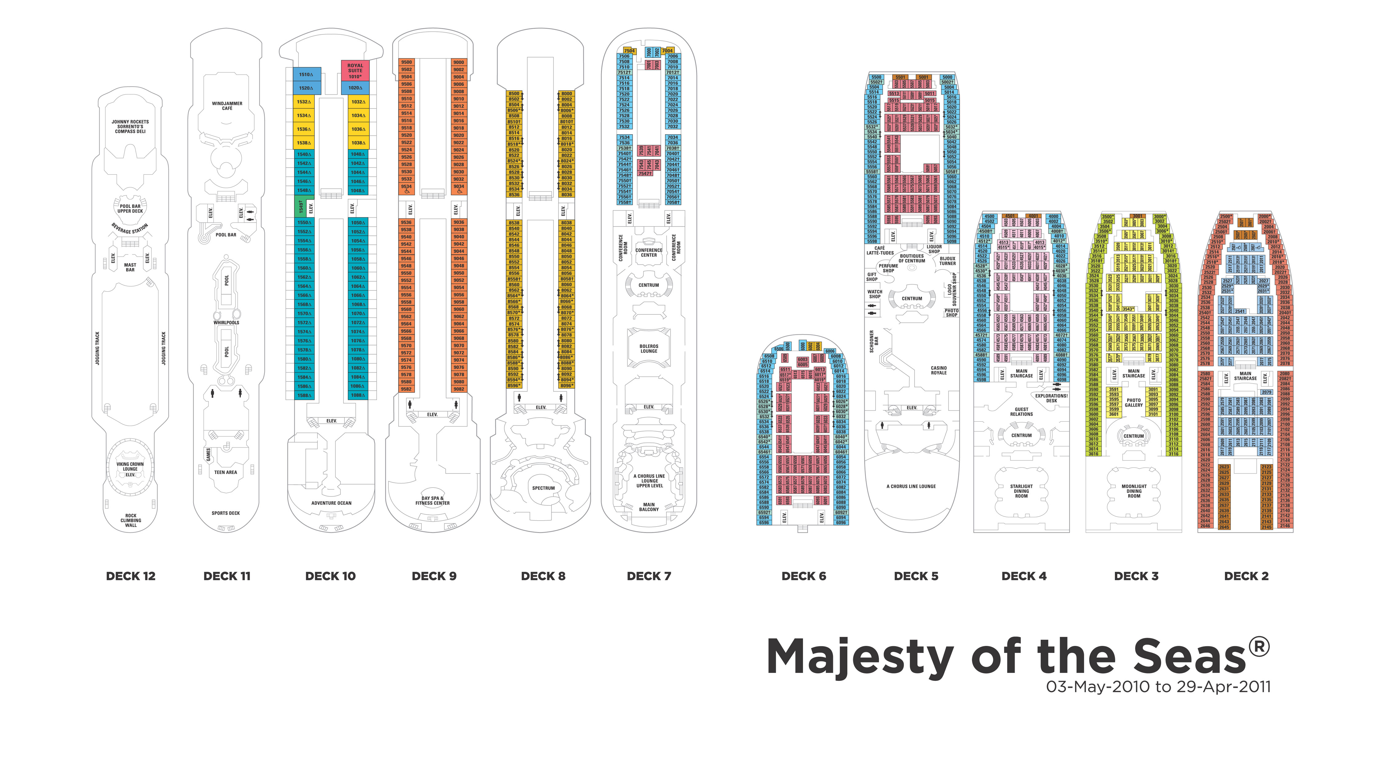 royal caribbean majesty of the seas deck plan www