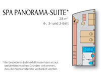 Grundriss der AIDAblu Spa Panorama Suite